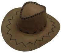 LIGHT BROWN COLOR SOFT LEATHER STYLE WESTERN COWBOY HAT cowgirl unisex HEADWEAR