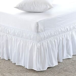 """MEILA Bed Skirt Elastic Wrap Ruffled Solid Bed Skirts White, Queen/King 16"""" Drop"""