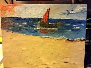 One of a Kind- Oil on Canvas Board-Lone Boat- Abstract-Signed -COA-Listed Artist
