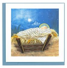 Quilling Card 3-D Christmas Greeting Card - MANGER SCENE - QUL-X-0638