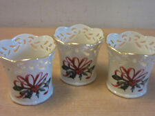 3 Lenox American Home Collection Winter Greetings votive candle holders