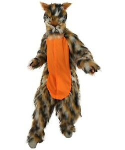 HPO Orange and Brown spotted Leopard Costume with Mask  - Long Synthetic Fibers