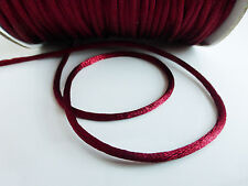 10 Metres (10m) Burgundy Red 2mm Rattail Rat Tail Nylon Thread Beading Cord