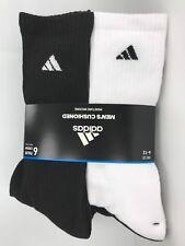 Men's ADIDAS Black White ATHLETIC Full Cushioned Crew Socks - 6 Pack - $36 MSRP