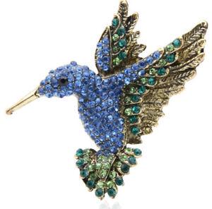 Brosche Anhänger Vogel Kolibri gold mit Strasssteinen blau