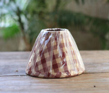 Lamp Shade 6 inch Red Tan Check Country Primitive Decor Chandelier Clip Style