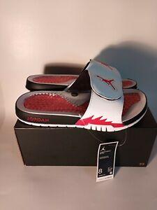 Jordan 5 Retro Fire Red White Slides Men Size 8