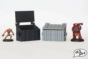 Wargaming scatter urban terrain - dumpster or skip bin, 28mm scale, Warhammer 40