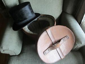 VINTAGE CHRISTYS OF LONDON BLACK MELUSINE FUR TOP HAT IN LEATHER BOX MINTY 7 1/8