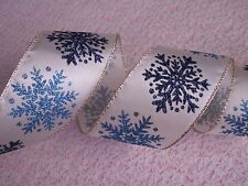Christmas Ribbon, Ivory with Snowflakes, 2 1/2 In Wide,Wired Edge, 5 YARDS