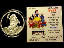 Disney SLEEPY One Oz .999 Fine Silver Coin w/ COA ~  FREE SHIPPING!!!
