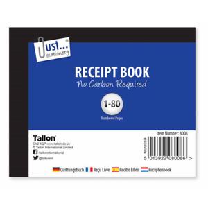Half Size Duplicate Receipt Book Numbered Cash 1 -80 NO CARBON REQD