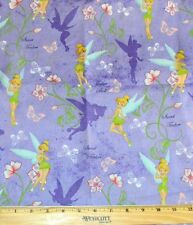 TINKERBELL FABRIC! 1/2 YARD FOR QUILTING! DISNEY PRINCESS~FAIRY~LAVENDER~SHADOW