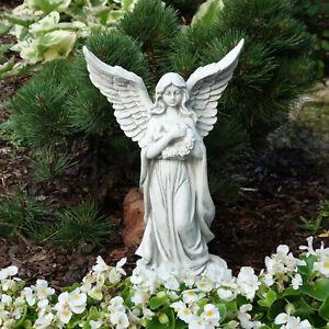 Massive Steinfigur Engel mit Flügel Gartendeko Grabdeko aus Steinguss frostfest