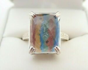 Sterling Silver Rainbow Calsilica White Quartz Stamped Band Ring Sz 8