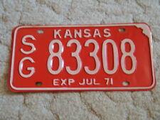 ANTIQUE 1971 KANSAS LICENSE TAG/PLATE - #83308