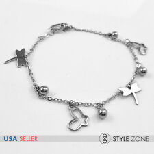 Women Stainless Steel Butterfly Dragonfly Ball Charm o Link Chain Bracelet B81