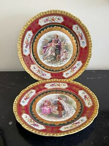 Antique Royal Vienna Heavy Raised Gold Decoration Hand Painted Plates