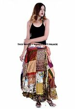 Asymmetrical Hem Silk Patchwork Wrap Around Floral Hippie Bohemian Long Skirt