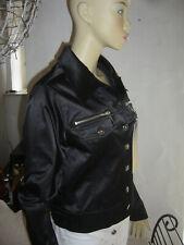 Damen WAWA Jeans Blazer Jacke Kurz Schwarz Stretch glänzend 38 Neu mit Etikett