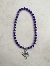 Anklet Beaded 6mm Blue Crystal Beads Silver Tone Diamante Elephant Charm boho