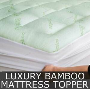 Quality Thick Bamboo Mattress Topper Pillowtop Fitted Mattress Underlay Pad