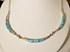 Sterling Silver Larimar (Dominican Rep.)  Necklace - Made in USA One Of A Kind