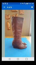 Steve Madden Cognac Leather Wedge Boots Size 7.5