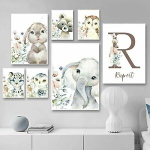 Lion Elephant Rabbit Baby Name Custom Personalized Wall Art Kids Room Home Decor