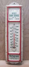 Old Heisey Farm Service Feed Seed Store Advertising Thermometer Sign Lawn Pa