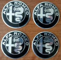 SET 4X Alfa Romeo Embleme SCHWARZ&SILBER DESIGN GUILIA 50mm für 147 156 Mito
