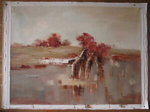 """Art heavy oil painting on canvas wall art abstract landscape painted 36""""x48"""""""