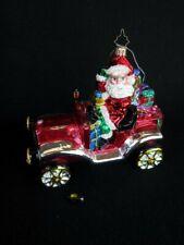 Christopher Radko Jolly Roadster Santa/Car Shiny Glittered Christmas Ornament