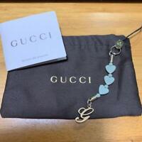 GUCCI Authentic Logo Motif Khaki Heart Link Bag Charm Key Chain Keyring w/Bag