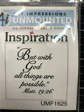 New ART IMPRESSIONS Rubber Stamp RELIGIOUS Matt 19:26 free USA ship cling