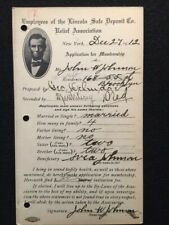 1912 **LINCOLN SAFE DEPOSIT CO.** RELIEF ASSOCIATION APPLICATION NEW YORK! RARE!