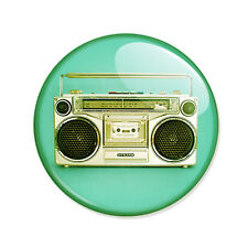 Badge POSTE à CASSETTE RETRO ghetto blaster K7 hip boho vintage rock pins Ø25mm