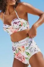 NEXT WHITE FLORAL BANDEAU HIGH WAISTED BIKINI 34DD TOP & 10 BOTTOMS BNWT