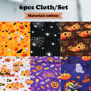 6X Cotton Halloween Skull Fabric Patchwork Pumpkin Handmade DIY Craft Cloth New
