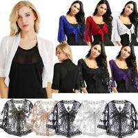 Womens Lace Chiffon V Neck Cropped Bolero Shrug Top Ladies Cardigan Wraps Jacket