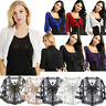 Womens Lace Chiffon V Neck Cropped Bolero Shrug Top Ladies Cardigan Wraps Jacket