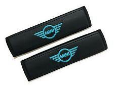 Mini Cooper Seat Belt Shoulder Pads Covers with turquoise embroidery 2PCS