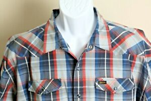 Howler Bros. Men's blue, red and tan plaid western snap short sleeve shirt 2XL