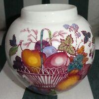 """Mason's Vintage Ironstone Red Fruit Basket Ginger Jar Vase 4-3/4"""" high"""