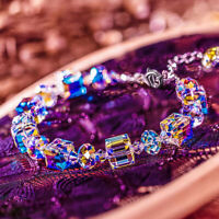 Women Aurora Borealis Crystal Bracelet Square Chain Wristband Adjustable Jewelry