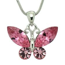 Color Charming Cute Pendant Necklace Butterfly Made With Swarovski Crystal Pink