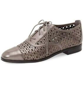 MIB!! Sz 10 Michael Kors Gunmetal Metallic Leather Sunny Lace Up Oxfords Shoes