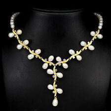 FASCINATING NATURAL CREAMY WHITE PEARL STERLING 925 SILVER NECKLACE 16.5""