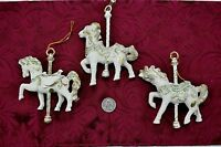 Lot of 3 Lightweight Plastic Carousel Horse Holiday Christmas Tree Ornaments 5""
