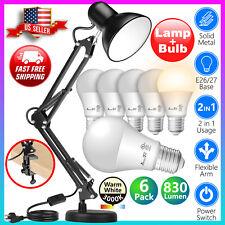 Led Desk Lamp Adjustable Swing Arm black 6pack 3000K WarmWhite LED Light Bulbs